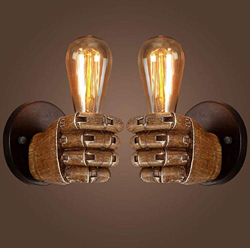 YNXing Lámpara de pared con diseño de puño antiguo industrial, E27, base de bombilla Edison para pasillo, cocina, dormitorio, restaurante o café iluminado (mano izquierda y derecha)