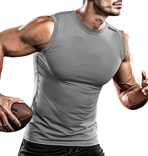 DRSKIN Men's Compression Shirt Tank Tops Undershirts Running Dry Cool Baselayer Sleeveless Workout Gym - grey - Medium