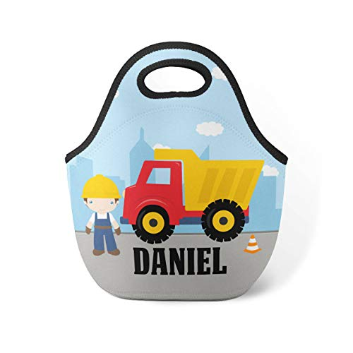 Personalized Truck Lunch Tote - Dump Truck Lunch Bag, Construction Worker Boy Neoprene Lunch Tote Bag, You Pick Boy - Kid Personalized Gift