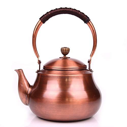 Alqn Teteras de cobre puro de alta capacidad para el hogar Artesanías puras Juegos de té antiguos, tetera de té cocinada japonesa creativa para estufa de gas