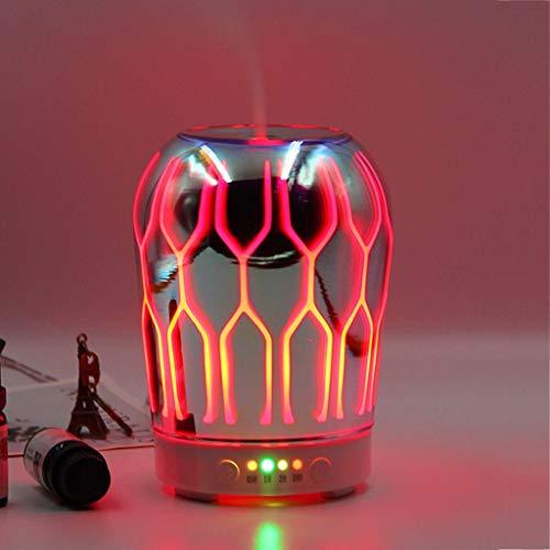 Lámpara de aroma Luz de Aceite Esencial Que Cambia de Color con Práctica Función de Apagado Automático Patrón de Estrella de Cristal de Diseño 3D para Humidificador de Niebla de Aromaterapia de Oficin