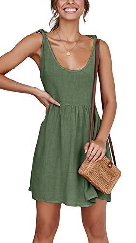 CNJFJ Women's Summer Shoulder Tie Strap Babydoll Dress Casual Scoop Neck A-Line Skater Swing Mini Sundress Army Green