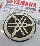 100% Original 30mm Diámetro Yamaha Diapasón Pegatina Emblema Logo Negro/ Plata Elevado Cúpula Gel Resina Adhesiva Moto / Jet Ski / Atv / Nieve