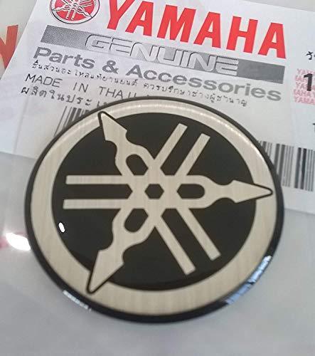 100% Genuine 30mm Diametro Yamaha Diapason Adesivo Emblema Logo Nero / Argento Cupola Gel Resina Autoadesivo Moto / Jet Sci / Atv / Motoslitta