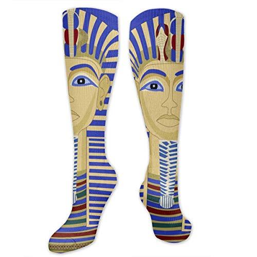 Calcetines largos de tutankhamun egipcio para hombre y mujer, con diseño de pharaoh y tut egipcio, para atletismo, talla única de 50 cm