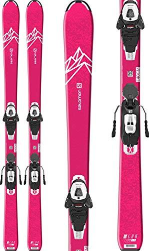 Salomon QST Lux Jr Medium Skis 130 w/L6 GW Bindings Girl's Sz 130cm Pink/White