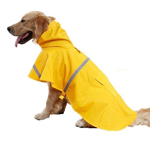 Kismaple Leggero Regolabile Riflettente Impermeabile Giacca per Cani, impermeabile con cappuccio per cani di Medio grande, Giallo, L Petto: 64-72cm