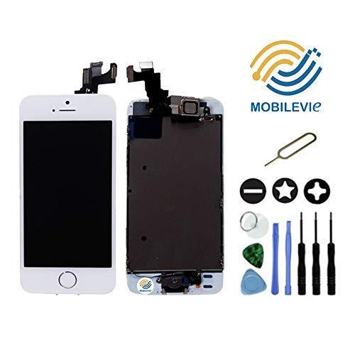 Mobilevie Ecran LCD Retina + Vitre Tactile Tout Assemblé Complet sur châssis pour Iphone 5s Blanc + Outils
