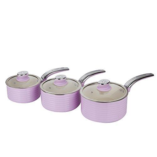 Swan Lot de casseroles rétro 3 pièces avec revêtement antiadhésif en céramique Ivoire, Aluminium, Rose, 27.00 x 42.00 x 15 cm