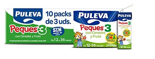 Puleva Peques Leche De Crecimiento Tipo 3 con Frutas y Cereales - 10 packs de 3 minibriks de 200 ml