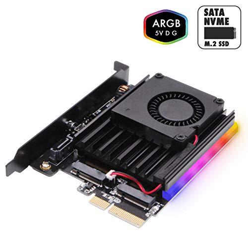 EZDIY-FAB Dual M.2 Adapter für SATA und PCIE NVMe SSD mit 5V ARGB Kühlkörper und Lüfter,Unterstützung für NGFF PCIe SSD (M-Key) und M2 SATA SSD (B & M-Key) 2280 2260 2242 2230