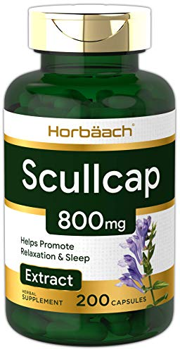 Horbaach Scullcap 800 mg 200 Capsules | Max Potency, Value Size | Non-GMO, Gluten Free Supplement | Skullcap Herb Extract