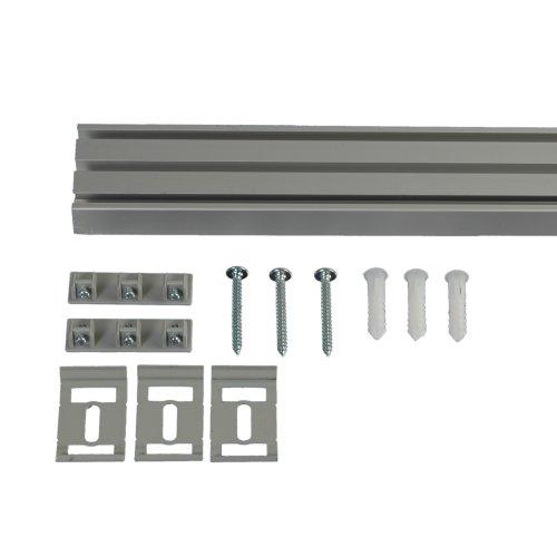 Liedeco Vorhangschiene 3-läufig für Vorhänge, Schiebevorhang Aluminium L 220 cm