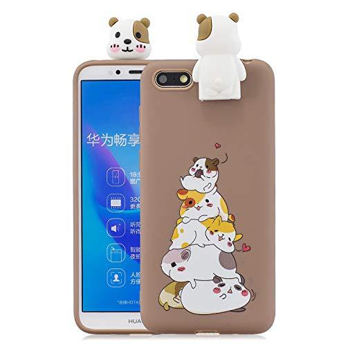 Jorisa Hülle Kompatibel mit Huawei Y5 2018,Niedlich Tier Hamster Muster mit Süße 3D Karikatur Ständer Handyhülle,Ultra Dünn Weich Silikon TPU Kratzfest Schutzhülle,Braun