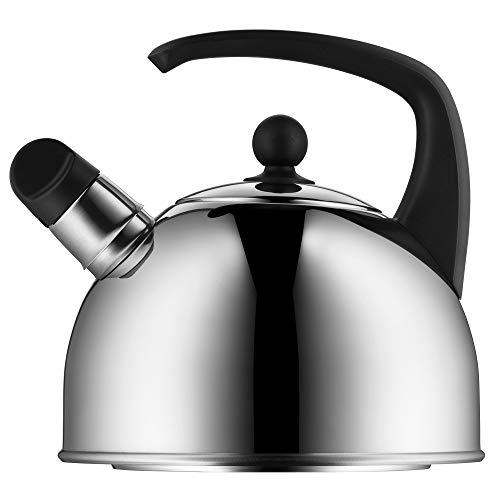 WMF - Hervidor de agua para inducción, 2 l, tetera con silbato, de acero inoxidable Cromargan pulido