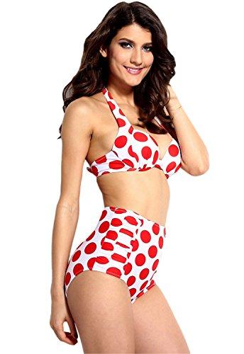 jowiha New Vintage Sexy Retro Push Up Bikini mit Hochgeschnittener Hose im Rockabilly Polka Dot Style Größen Rot/Weiß S M L XL (M)