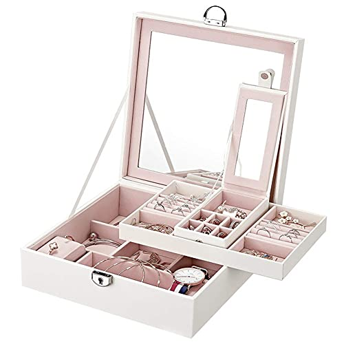 AMOZ Organizador grande de joyas para mujeres y niñas, dos capas de joyería con cerradura de espejo para collar, pendientes, pulseras, anillos, relojes, color blanco