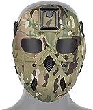 NC Máscara táctica Protección Facial Completa Máscara Salvaje con arnés con Base adaptadora de visión Nocturna, Máscara CS Airsoft Paintball
