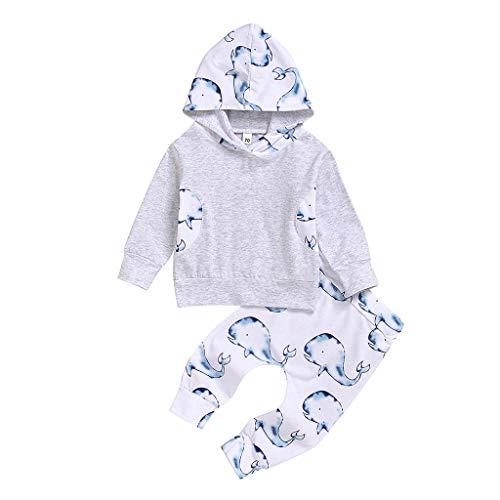 Hui.Hui Ensemble Naissance Parent-Enfant Pyjama,Garçon Fille Tops Dessin Animé Imprimé Manches Longues Blouse et Pantalon Famille Correspondant Vêtements pour 0-3 Ans