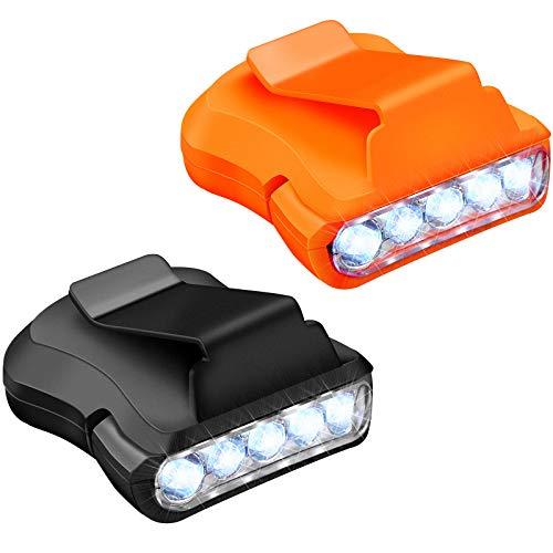 2 Luces de Sombrero de 5 LED Mini Linterna de Cabeza Giratoria Luz de Visera de Gorra de Béisbol con Clip para Acampar Correr Ciclismo Caminar Senderismo con 5 Botones de Batería Adicionales