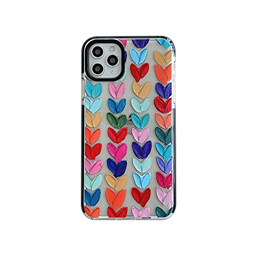 Color Mix Drawing Loving Heart Clear Case for Apple iPhone 11 Pro Max Mobile Phone Basic Cases Shockproof Sides Protect Edges Cover for iPhone 11 Pro Max Accessories (for iPhone 11 Pro Max 6.5