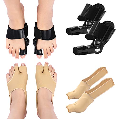 Bunion Corrector and Bunion Relief Kit for Women and Men - 1 Pair of Bunion Pad Socks + 1 Pair of Bunion Splints - Socks & Big Toe Straightener Splints for Relieve Hallux Valgus Day Night