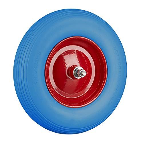 Relaxdays Schubkarrenrad Vollgummi mit Achse, 4.80 4.00-8 Gummirad, pannensicher, 100kg Tragkraft Ersatzrad, blau-rot
