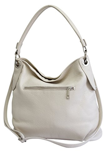 AMBRA Moda Damen echt Ledertasche Handtasche Schultertasche Beutel Shopper Umhängtasche GL012 (Beige Creme)