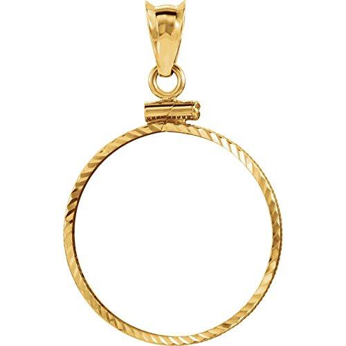 Marco de colgante de oro amarillo con tapa de rosca y corte de diamante para monedas de 1/4 de onza sudafricana modelo 7cuQbW5