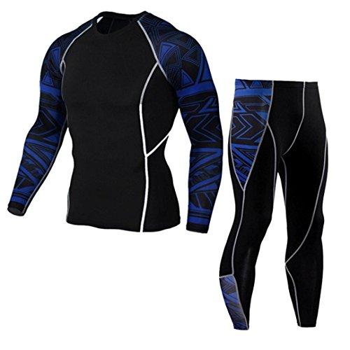 Chándal de otoño invierno hombres Amlaiworld Traje de deportiva hombres Compresión Leggings Camuflaje Deportes Running Yoga Athletic Pantalones + Camiseta Térmica de Compresión Traje (Azul, M)