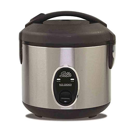 Solis rijstkoker, wit/bruine rijst, warmhoudfunctie, 4 kopjes rijst, 0,8 liter, inclusief maatbeker en lepel, Rice Cooker Compact (type 821)