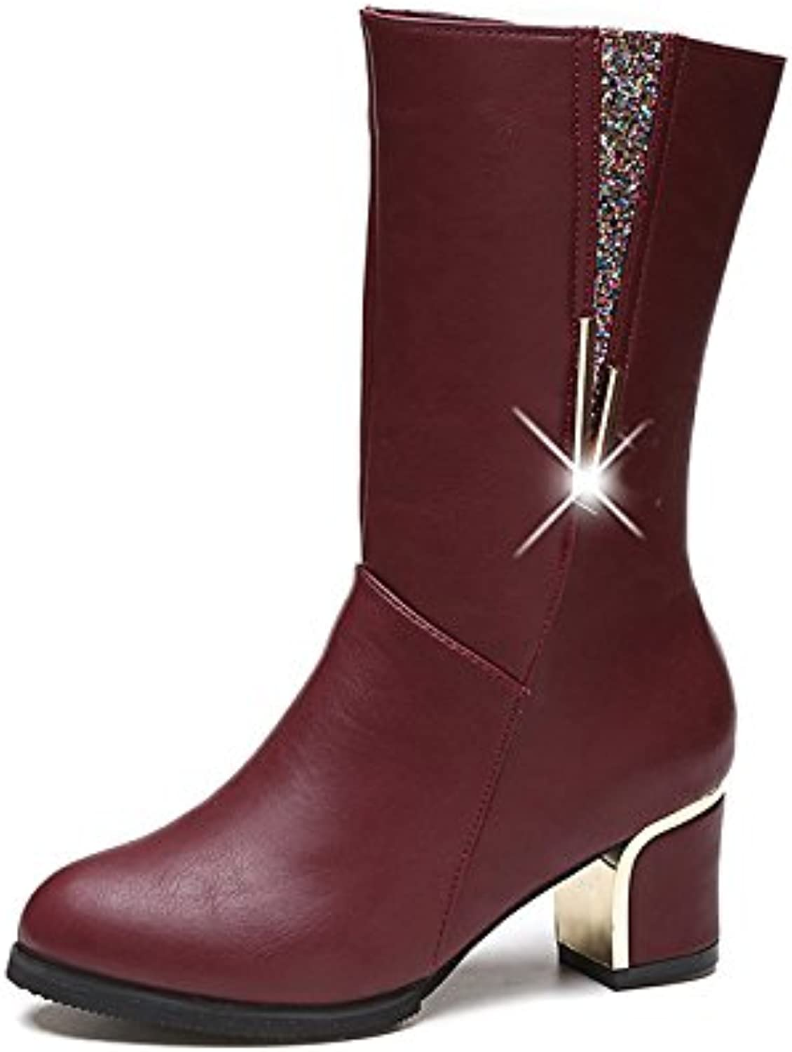 WYMBS Women's shoes Autumn Winter in The Tube Rough with Round Head Martin Boots Sequins Short Boots,Wine Red,41