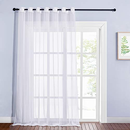 "NICETOWN Sheer Drape for Large Window - 100"" Width by 108"" Length Solid Sheer Voile Window Drape Panel for Patio/Sliding Door/Living Room (White, 1 Pack)"