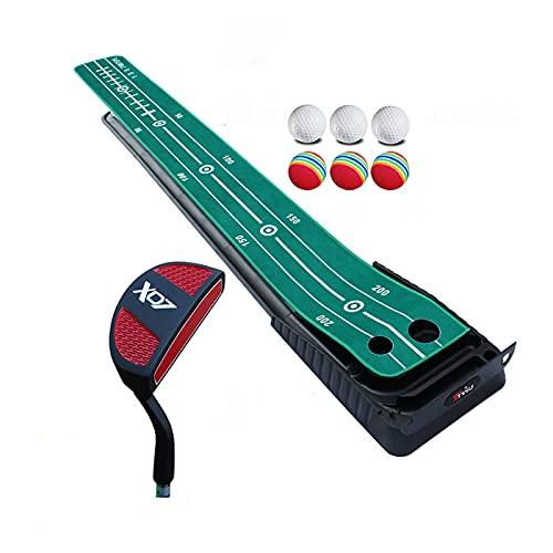 Limuchen Plegable Mini Entrenador de Golf Poner la colchoneta para el hogar, el Golf Interior y al Aire Libre Putting GROF GROF GROF MATS con la función de Retorno de la Bola automática Portátil