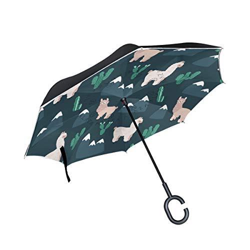 ISAOA Doppelschichtiger umgekehrter faltbarer Regenschirm, selbststehender und umgekehrter Autoschirm, Alpakas, Kaktus und Berge, winddichter Regenschirm, mit UV-Schutz
