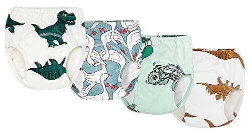 4 Pièces Culotte d'apprentissage Lavables Bébé Enfant Fille Garçon Couches Culottes Anti-Fuite en 100% Coton Imperméable (12-18 Mois, Bleu)