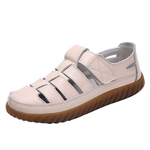 Schuhe Damen Mode Retro Solid Color Vielseitige Flache lässige weiche Sandalen (36,Beige)