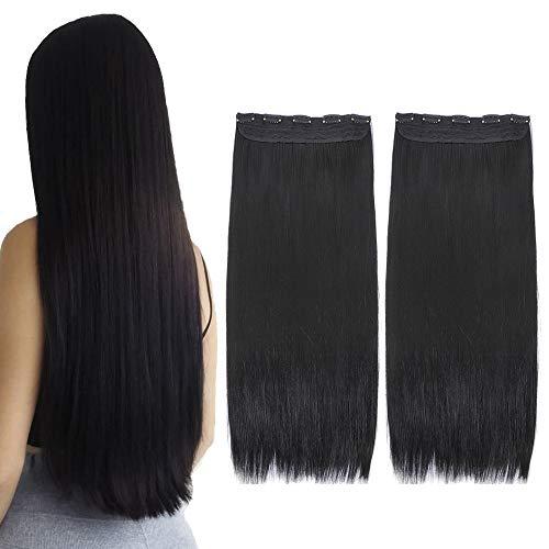 YMHPRIDE 2 paquetes de clip negro recto largo en extensiones de cabello 1 piezas 5 clips suaves y gruesos peluquines sintéticos de cabeza completa para mujeres (22 pulgadas, 140 g)