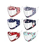 Genovega 6 PCS Clear Face Mask Shield Transparent Window for Women Men Adult Deaf,Reusable Breathable Designer Anti-Fog Cloth with Earloop Visible Mouth Nose Cover Blue Red Pink Flowers