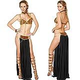 Sexy Carnaval Cosplay- Princesa Leia Esclavo Disfraz Vestido Oro Sujetador y Cadena de Cuello Disfraz de Halloween (Color : Noir, Size : L)