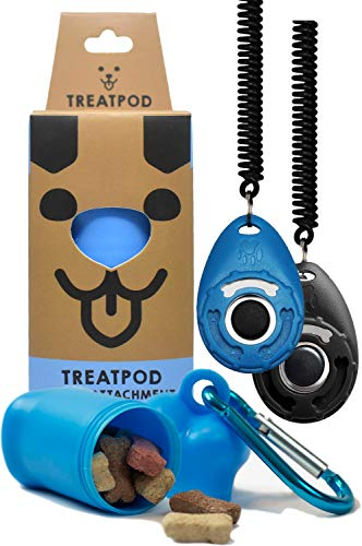 TreatPod Leash Treat Holder and Training Clickers (Blue/Black) - Portable Container and Clickers...