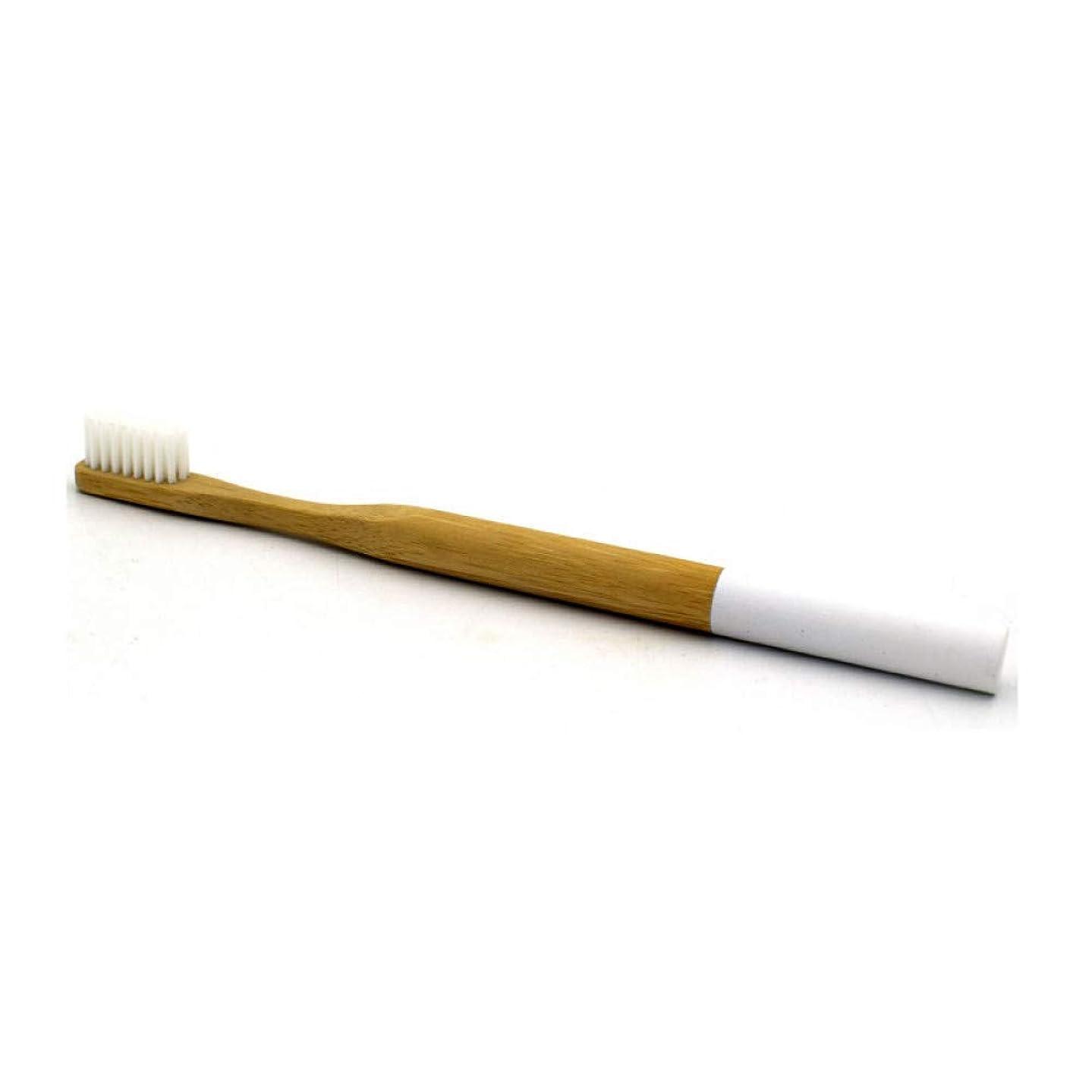ロデオ補足静けさ1ピース竹歯ブラシソフトヘッド環境にやさしい竹ハンドル大人のための剛毛白歯ブラシ、ホワイト