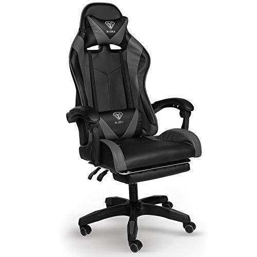 Trisens Gaming Stuhl Home Office Chair Racing Chefsessel Bürostuhl Sportsitz Büro Stuhl, Farbe:Schwarz/Grau