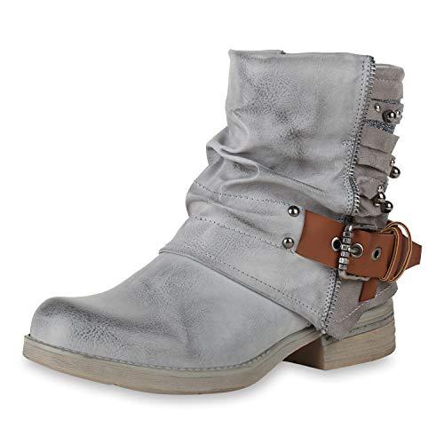 SCARPE VITA Damen Stiefeletten Biker Boots Glitzer Bikerstiefel Leder-Optik Schuhe Schnallen Nieten Zierperlen 156847 Grau Grau 36