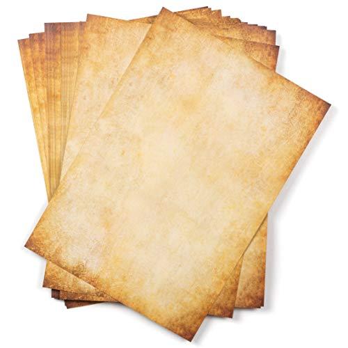 25 hojas DIN A4 Papel vintage pergamino , 110g/m², 210x297 mm, aspecto Antiguo envejecido, Doble cara, para Escribir y imprimir, Manualidades, carta, recortes, scrapbook