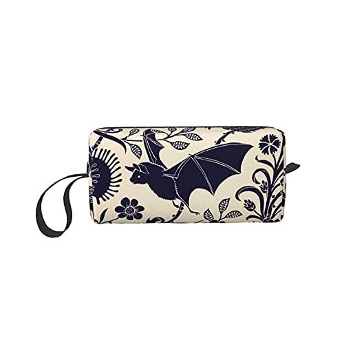 Goth Halloween Bat Cosmetic Coin Pouch Pencil Case Clutch Wristlet Wallets Purse Portable Storage Bag