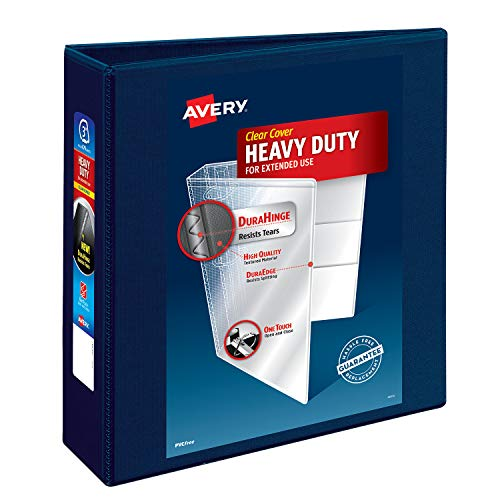 "Avery Heavy Duty View 3 Ring Binder, 3"" One Touch EZD Ring, Holds 670-Sheets 8.5"" x 11"" Paper, 1 Navy Blue Binder (79803)"