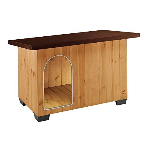 Ferplast Baita 120 Outdoor-Hundehütte, hochwertige und umweltfreundliche Hundehütte aus Holz, Isolierfüße aus Kunststoff, Tür mit bissfestem Aluminiumrahmen, Pultdach zum Öffnen, 141 x 86,5 x 87 cm