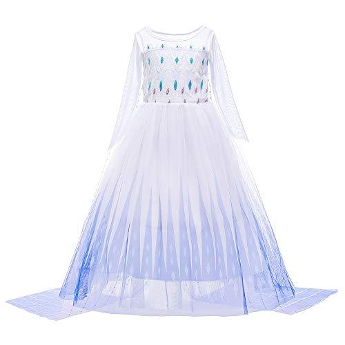 O.AMBW Vestido Doble Capa Desmontable Elsa Frozen 2 Disfraz con Accesorios Cosplay Princesa Disfraz de Frozen para Niños Carnaval Vestidos de Cumpleaños Mangas Largas con Accesorios