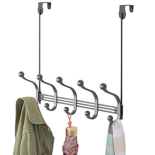 mDesign praktische hakenlijst - wandgarderobe met 10 garderobehaken voor keuken, hal en badkamer - haken voor het opbergen van mantels, jassen, sjaals en handdoeken - grijs